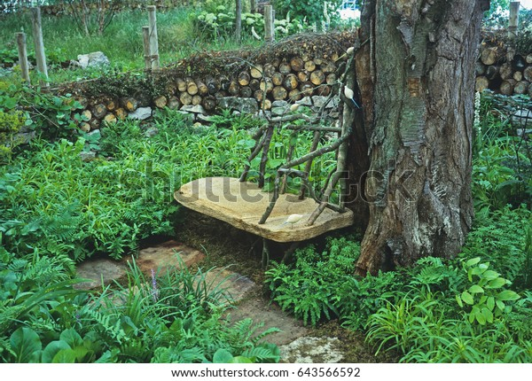 Feature Wooden Seating Shaded Garden Stock Photo Edit Now 643566592