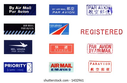Features a variety of international postage stickers and stamps
