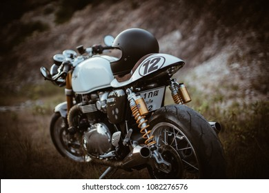 Feb 03 , 2018 White color Triumph Thruxton R Motorcycle on the way travel to valley at phangan island, Thailand
