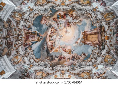 Feb 1 - Steingaden, Germany: Rococo style dome fresquo ceiling with tromp-l'oeil in Pilgrimage Church of Wies, Wieskirche