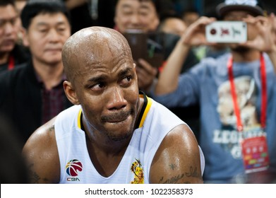 Feb 11, 2018 - Beijing, China: Stephon Marbury wipes his eyes before his retirement ceremony after  a CBA game between Beijing Fly Dragons and Jiangsu Dragons, on February 11,2018, in Beijing, China.