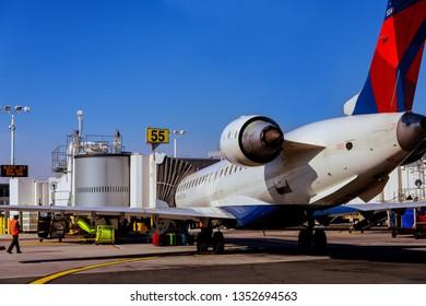 FEB 14, 2019 JFK NEW YORK, USA: Air DELTA airplane on parking position during pre flight preparation on JFK International Airport