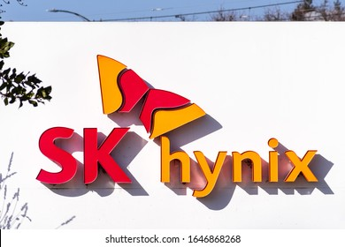 Feb 14, 2020 San Jose / CA / USA - SK Hynix logo at their headquarters in Silicon Valley; SK Hynix Inc. (part of SK Group and subsidiary of SK Telecom) is a South Korean electronics manufacturer