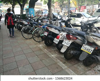 Feb 15 2019: taipei Taiwan: bicycle and motorcycle park in Taipei. taiwanese lifestyle in Taipei the capital city of Taiwan.
