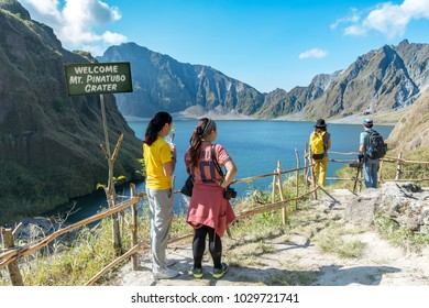 Feb 18,2018 Tourists admiring Mt. Pinatubo Crater lake, Capas, Philippines