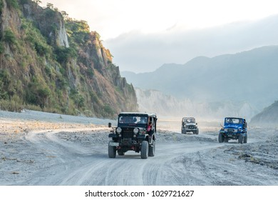 Feb 18,2018 Tourists on a Pinatubo tour in a four-wheel drive car, Capas, Philippines