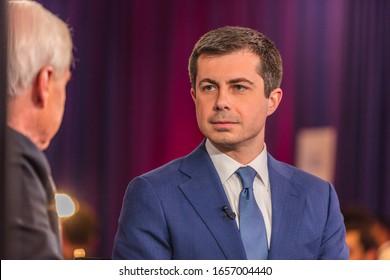 FEB 19, 2020, LAS VEGAS, NEVADA - USA -Chris Matthews of MSNBC interviews Democratic Presidential Candidate Mayor Pete Buttigieg Presidential Debate