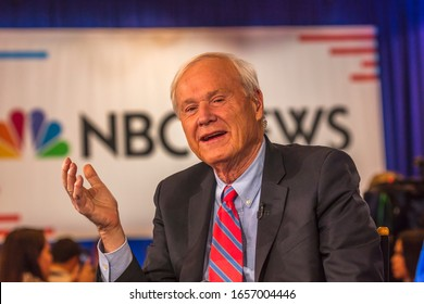FEB 19, 2020, LAS VEGAS, NEVADA - USA - Chris Matthews of MSNBC interviews Democratic Presidential Candidates at NBC / DNC Presidential Debate
