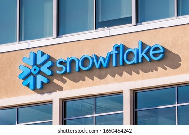 Feb 19, 2020 San Mateo / CA / USA - Snowflake symbol and logo at the company corporate headquarters in Silicon Valley; Snowflake Inc. is a cloud-based data-warehousing startup