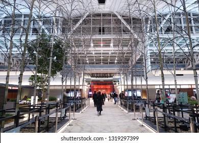 Feb 2018 - Tokyo, JAPAN: Inner design of Haneda, Tokyo International Airport.