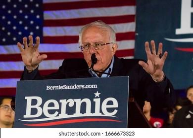 FEB 21, 2020, LAS VEGAS, NEVADA, USA - Democratic Senator Bernie Sanders speaks at Presidential Rally at Springs Preserve Ampitheater evening before Nevada Caucus, Las Vegas, NV