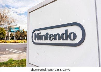 Feb 21, 2020 Redwood City / CA / USA - Nintendo sign at their headquarters in Silicon Valley; Nintendo Co., Ltd. is a Japanese multinational consumer electronics and video game company