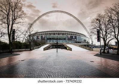 FEB 24, 2011 LONDON, UK : Arch and  architecture of Wembley football stadium, London UK.