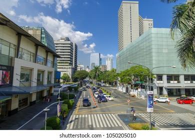 Feb 24, 2018 Traffic in Makati avenue view from Greenbelt 3 , Makati city, Merto Manila, Philippines