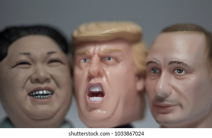 FEB 25 2018: Caricatures of US President Donald Trump, Russian President Vladimir Putin and North Korean Supreme Leader Kim Jong Un grouped together