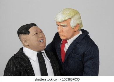 FEB 25 2018: Caricatures of US President Donald Trump and North Korean Supreme Leader Kim Jong Un grouped together