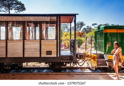 FEB 26, 2014 Dalat, Vietnam - Old Dalat railway station - Vietnam. Station was opened in 1938. Vintage wooden train car at platform.