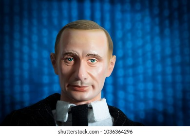 FEB 28 2018: Foreign Actor concept - Russian meddling and hacking of the US Elections concept using action figure of Vladimir Putin.