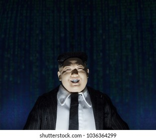FEB 28 2018: Foreign Actor concept - hacking of the US Elections concept using North Korean Leader Kim Jong Un action figure
