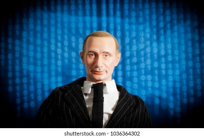 FEB 28 2018: Foreign Actor concept - Russian Meddling and hacking of the US Elections concept using action figure of Vladimir Putin