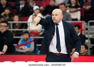 Feb 6, 2018 - Beijing, China: Beijing's head coach Yannis Christopoulos during a CBA game between Beijing Ducks and Xinjiang, on February 6, 2018, in Beijing, China.