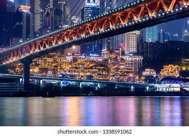 Feb 8th,2019-Chongqing,China-The cityscape of Chongqing at night