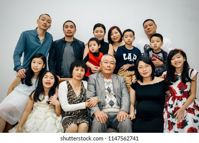 Feb/21/2018 Happy Vietnamese family is having a great portrait photo during Luna New year, Hai Phong, Vietnam