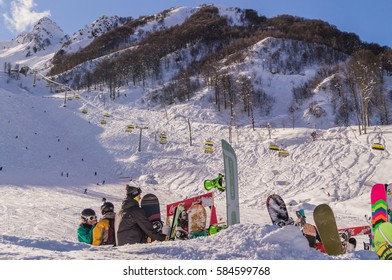 FEBRUARY 02; 2016 : Skiers and snowboarders relax near the slopes in the skiing area  of Rosa Khutor; Krasnaya Polyana; Sochi; Russia.