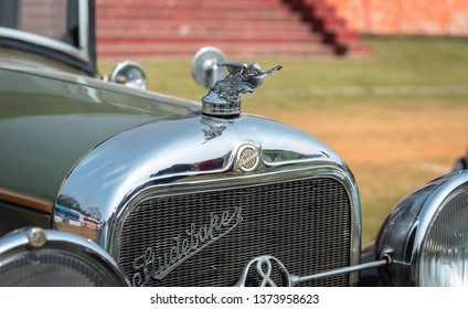 February 03,2019. Studebaker vintage car closeup of  logo and name in display at the Fort William grounds at the Statesman Vintage and classic car rally at Kolkata. India.