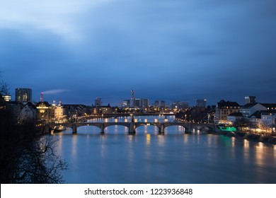 February 04, 2017 - Basel, Switzerland: Evening view of the city and the river Rhine