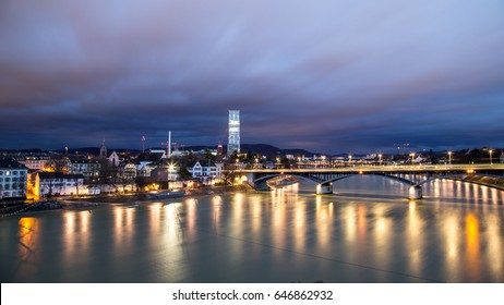 February 04, 2017 - Basel, Switzerland: Panoramic view of the city and the river Rhine