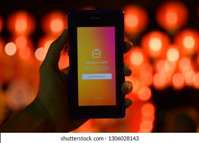 February 05, 2019 :Igtv of the most popular mobile gadgets and beautiful bokeh lighting Taken in Phuket, Thailand