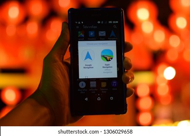February 05, 2019 :Navigation application On the most popular mobile phone and beautiful bokeh light Taken in Phuket, Thailand