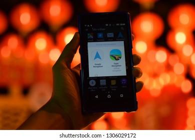 February 05, 2019 :The most popular mobile navigation and beautiful bokeh lighting Taken in Phuket, Thailand