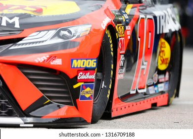 February 09, 2019 - Daytona Beach, Florida, USA: Martin Truex Jr. (19) practices for the Daytona 500 at Daytona International Speedway in Daytona Beach, Florida.