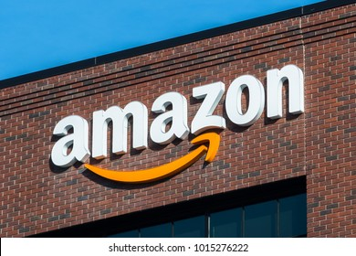 February 1, 2018 East Palo Alto / CA / USA - Amazon logo on the facade of one of their office buildings located in Silicon Valley, San Francisco bay area