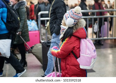 """In February 1, 2018, the """"spring transportation"""" of Beijing West Railway Station in China. A stream of people coming home near the Spring Festival"""