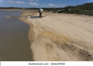 February 10, 2018. View of the Theewaterskloof Dam, the levels of which have dropped under 15% following years of drought, outside Cape Town, South Africa. The region is facing a water crisis.