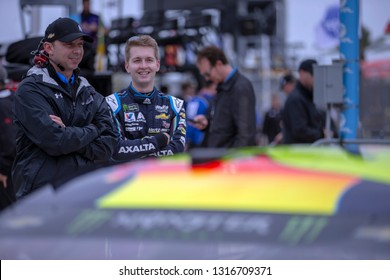 February 10, 2019 - Daytona Beach, Florida, USA: William Byron (24) takes to the track to qualify for the Daytona 500 at Daytona International Speedway in Daytona Beach, Florida.