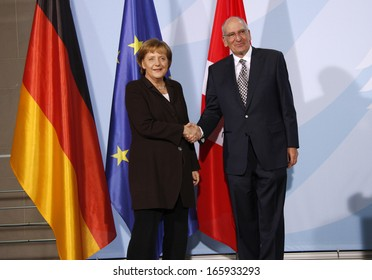 FEBRUARY 11, 2008 - BERLIN: Chancellor Angela Merkel, Swiss Federal President Pascal Couchepin at a press conference after a meeting in the Chanclery in Berlin.