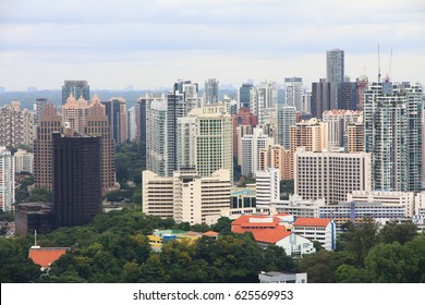 February 11, 2016 – Bird's Eye View of Singapore's Skyline Bird's eye view of Singapore' skyline with numerous office buildings and condominiums in sight
