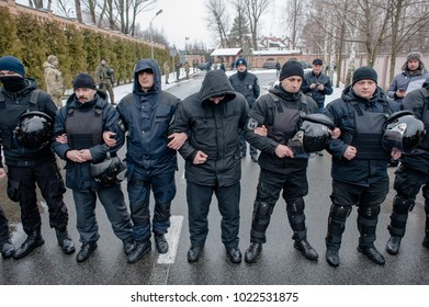 February 11, 2018. Kyiv region, Ukraine. Protest action under the Petro Poroshenko residence. Activists who support Mikhail Saakashvili demanded the resignation of President of Ukraine.