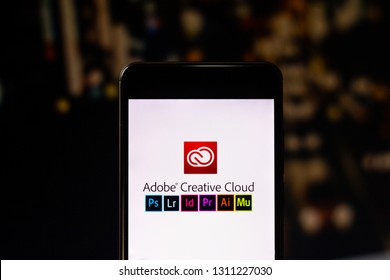 February 12, 2019, Brazil. Adobe Creative Cloud, logo displayed on the display of a mobile device. Adobe Creative is a suite of applications and services from Adobe Systems.