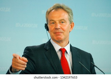 FEBRUARY 13, 2007 - BERLIN: British Prime Minister Tony Blair at a press conference after a meeting with the German Chancellor in the Chanclery in Berlin.