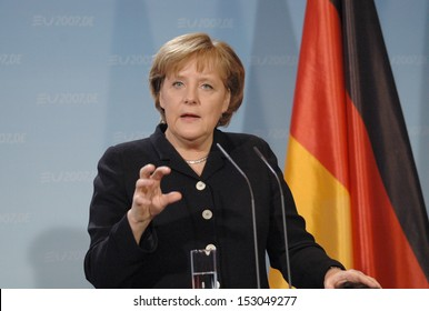 FEBRUARY 13, 2007 - BERLIN: German Chancellor Angela Merkel at a press conference after a meeting with the British Prime Minister in the Chanclery in Berlin.