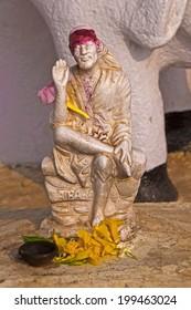 FEBRUARY 13, 2014, VISHAKHAPATNAM, ANDHRA PRADESH, INDIA -Murti of Shri Shirdi Sai Baba in a litle shrine. Shirdi Sai Baba (end of 1830th-1918) was the great saint sage