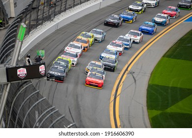 February 13, 2021 - Daytona Beach, Florida, USA: Justin Allgaier (7) races for position for the Beef. Its What's For Dinner 300 at Daytona International Speedway in Daytona Beach, Florida.