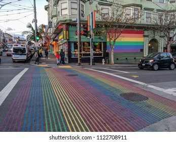 February 14, 2018 - San Francisco, California: View of the busy, main intersection of the Castro District, 18th and Castro, the cities historical gay neighborhood.