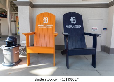 FEBRUARY 14, 2019, LAKELAND, FL: Beautiful Publix Field at Joker Marchant Stadium prepares for the 2019 Detroit Tigers and spring training. Huge chairs offer fans a photo op. The door is normal size.