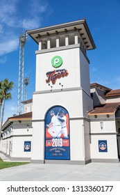 FEBRUARY 14, 2019, LAKELAND, FL: Beautiful Publix Field at Joker Marchant Stadium prepares for the 2019 Detroit Tigers and spring training. Outside the stadium's main entrance. Vertical aspect.
